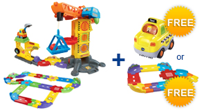 Buy Learning Zone Construction Site + Deluxe Track Set and receive 1 FREE Vehicle or Junior Track Set