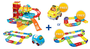 Buy Park & Learn Deluxe Garage + Deluxe Track Set + Vehicle and receive 1 FREE Vehicle or Junior Track Set or Deluxe Track Set