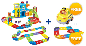 Buy Police Station Playset + Deluxe Track Set and receive 1 FREE Vehicle or Junior Track Set