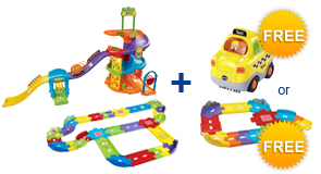 Buy Spinning Spiral Tower Playset + Deluxe Track Set and receive 1 FREE Vehicle or Junior Track Set