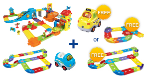 Buy Train Station Playset + Deluxe Track Set + Vehicle and receive 1 FREE Vehicle or Junior Track Set or Deluxe Track Set