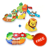 Buy Zoo Explorers Playset + animal and receive free Junior Track Set