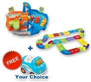 Buy 2-in-1 Race Track with Deluxe Track set and receive 1 FREE vehicle