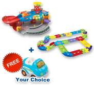 Buy Garage Playset with Deluxe Track set and receive 1 FREE vehicle