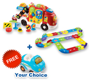 Buy Car Carrier with Deluxe Track set and receive 1 FREE vehicle