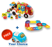 Buy Car Carrier with Junior Track Set and receive 1 FREE vehicle!
