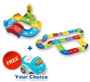 Buy Traffic Signal Bridge with Deluxe Track set and receive 1 FREE vehicle