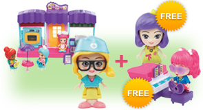 Buy a Flipsies Clementine's Birthday Party & Bakery and a Flipsies Doll, receive FREE Flipsies Playset and Doll of your choice