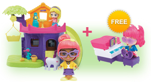 Buy a Flipsies Eva's Tree House & Vet Center and a Flipsies Doll, receive FREE Flipsies Playset of your choice
