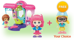 Buy a Flipsies<sup>™</sup> Styla's Salon & Fashion Boutique and a Flipsies<sup>™</sup> Doll, receive 1 extra FREE Flipsies<sup>™</sup> Doll of your choice