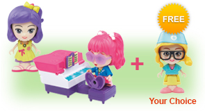 Buy a Flipsies<sup>™</sup> Jazz's Vanity & Piano and a Flipsies<sup>™</sup> Doll and receive 1 extra FREE Flipsies<sup>™</sup> Doll of your choice