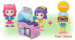 Buy a Flipsies<sup>™</sup> Clementine's Kitchen & Ice Cream Cart and a Flipsies<sup>™</sup> Doll, receive 1 extra FREE Flipsies<sup>™</sup> Doll of your choice