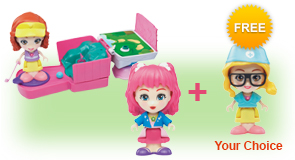 Buy a Flipsies<sup>™</sup> Carina's Mini Golf & Check-Up Table and Flipsies<sup>™</sup> Doll, receive 1 extra FREE Flipsies<sup>™</sup> Doll of your choice