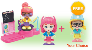 Buy a Flipsies<sup>™</sup> Lexi's Trampoline & Classroom and Flipsies<sup>™</sup> Doll, receive 1 extra FREE Flipsies<sup>™</sup> Doll of your choice