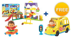 Buy the Busy Sounds Discovery Home and a Friend, receive a FREE Learning Wheels School Bus