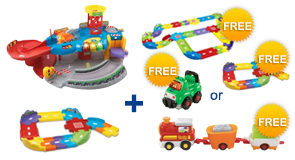 Buy the Garage Playset and Junior Track Set, receive $8 off and a FREE Playset or Vehicle of your choice!