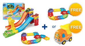 Buy the 3-in-1 Launch & Play Raceway and Junior Track Set, receive a FREE Vehicle or Junior Track Set!