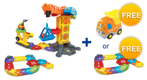 Buy the Learning Zone Construction Site and Junior Track Set, receive a FREE Vehicle or Junior Track Set