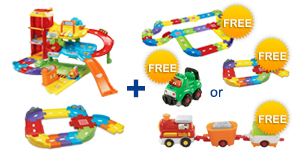 Buy the Park & Learn Deluxe Garage and Junior Track Set, receive $5 off and a FREE Gift of your choice!
