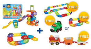 Buy the Spinning Spiral Tower Playset and Junior Track Set, receive a FREE Gift of your choice!