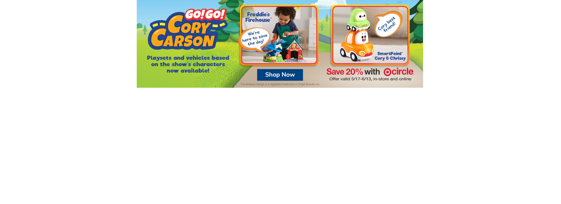 Save 20% off Go! Go! Cory Carson Playsets and Character Vehicles only at Target