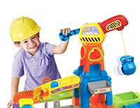 Construction playset with multiple mechanical elements encourage role-play and educational play