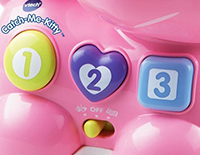 3 shaped button teaches numbers, shapes and nursery rhymes