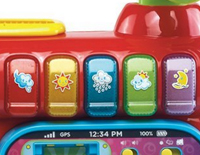 5 colorful piano buttons introduce colors and weather