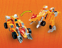 2-in-1 toy easily transforms from a dinosaur to a speedy race car and back again
