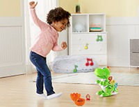 Watch Dino move or dance along to encouraging songs and phrases when tiles are inserted.