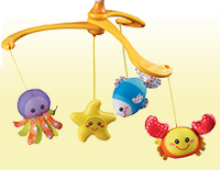 Features brightly colored ocean animal characters