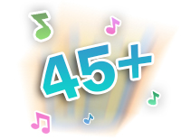 Plays 45+ soft sing-along songs, melodies and phrases