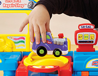 Hot rod plays fun sounds and music when rolled over SmartPoint® locations