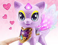 Color-Change Magic Press Piper's magical necklace to choose a color, then touch her horn, eyes and wings to decorate with that color. Each color changes her mood!
