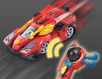 Use the turbo charge lever to charge his turbo boosters, and press the turbo boost button to give him a burst of speed