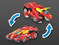 2-in-1 toy easily transforms from a dinosaur to a vehicle with the push of a button on the remote control