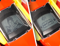LCD screen displays cool dinosaur eyes and driver animations