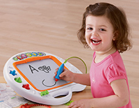 Learning magnetic drawing board with letter recognition technology