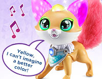 Interact with Finn Explore colors and hear about her moods and feelings with more than 100 magical responses. Touch Finn's mouth to sing a colorful duet with her.
