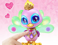Color-Change Magic Press Penny's magical necklace to choose a color, then touch her crest, eyes and tail to decorate with that color. Each color changes her mood!