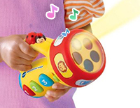 Press the ladybug button to hear fun sounds and phrases