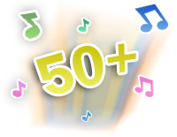 Over 50 sing-along songs, music, sounds and fun phrases