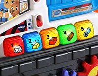 Three Ways to Play  Press light-up buttons in Learning, Music and Quiz modes to hear phrases about colors, numbers, construction and more.