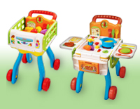Versatile role-play toy that easily transforms from a shopping cart into a kitchen playset
