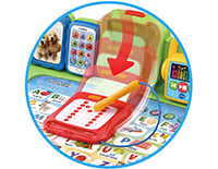 Use the stylus to trace letters and numbers on the writing pad using proper stroke order.