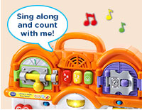 ABCs & 123s  Press three colorful buttons to hear the Alphabet Song, a number song or a playful song about the house.
