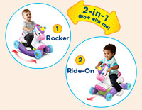 Two Ways to Play Detach the unicorn from the rocker and flip the wheels upside down. Reattach the unicorn to make it a ride-on.