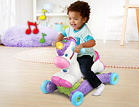 Listen to the Music Rock or ride to trigger built-in motion sensors that play 45+ playful songs, magical unicorn sounds and phrases.