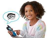 Send messages from one walkie talkie to the other by choosing from preset animated messages.