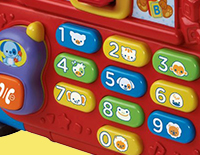Keypad and removable phone teach numbers and pretend play